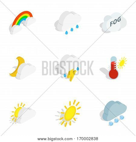 Climate icons set. Isometric 3d illustration of 9 climate vector icons for web