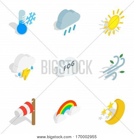 Weather forecast icons set. Isometric 3d illustration of 9 weather forecast vector icons for web