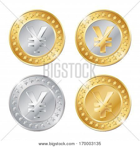 Vector Illustration Of Four Coins With Yen  Sign