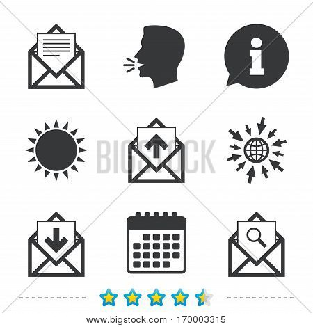 Mail envelope icons. Find message document symbol. Post office letter signs. Inbox and outbox message icons. Information, go to web and calendar icons. Sun and loud speak symbol. Vector