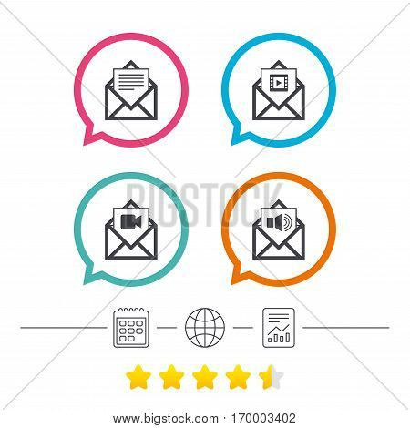 Mail envelope icons. Message document symbols. Video and Audio voice message signs. Calendar, internet globe and report linear icons. Star vote ranking. Vector