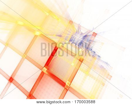 Abstract background element. Fractal graphics series. Three-dimensional composition of repeating grids. Information technology concept. Color image on white backdrop.