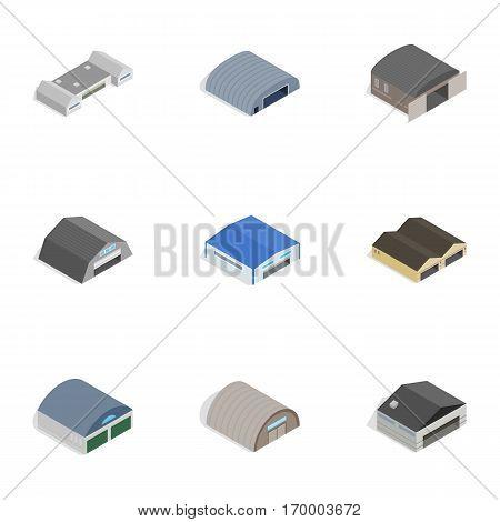 Storage building icons set. Isometric 3d illustration of 9 storage building vector icons for web