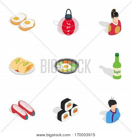 South Korea icons set. Isometric 3d illustration of 9 South Korea vector icons for web