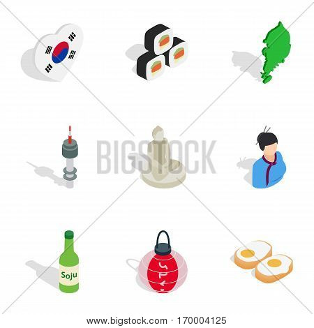 South Korea cultural elements icons set. Isometric 3d illustration of 9 South Korea cultural elements vector icons for web
