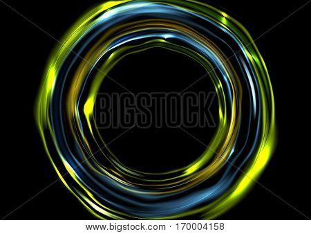 Glowing neon luminous circles on black background. Vector digital graphic design