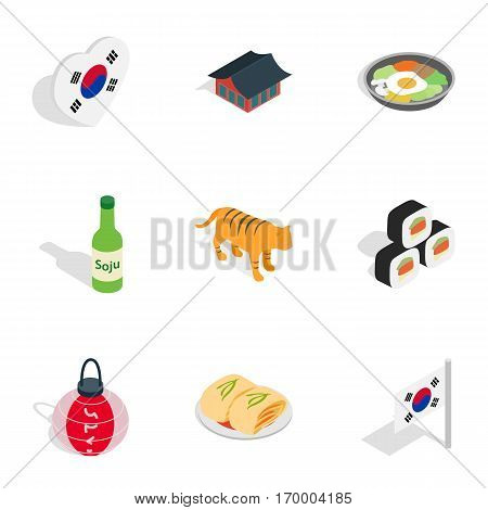 South Korea attractions icons set. Isometric 3d illustration of 9 South Korea attractions vector icons for web