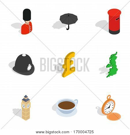 England attractions icons set. Isometric 3d illustration of 9 England attractions vector icons for web
