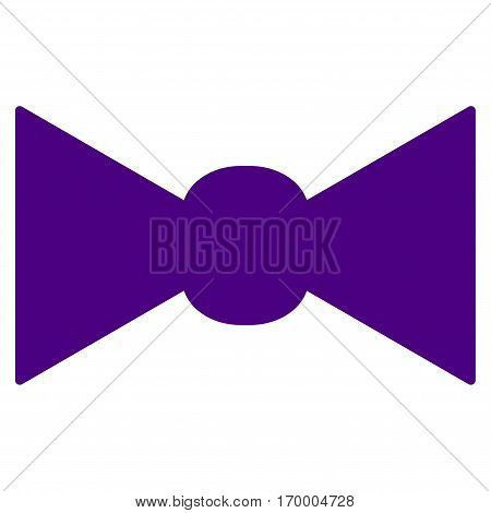 Bow Tie vector icon symbol. Flat pictogram designed with indigo blue and isolated on a white background.