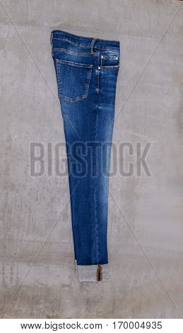 Side view blue jeans trouser isolated â??gray background