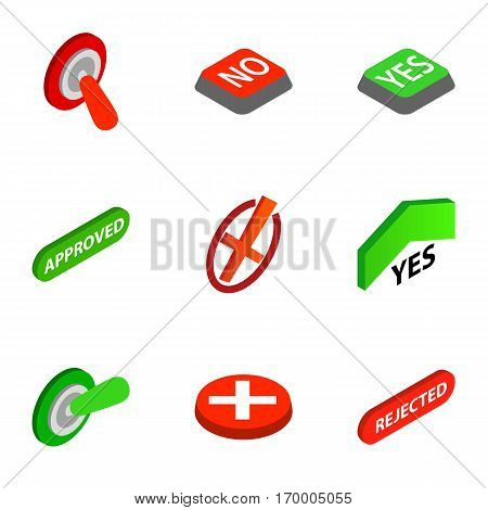 Right and wrong icons set. Isometric 3d illustration of 9 right and wrong vector icons for web
