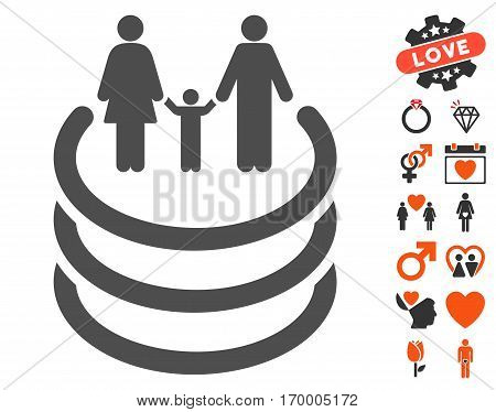 Family Portal icon with bonus lovely icon set. Vector illustration style is flat iconic symbols for web design app user interfaces.