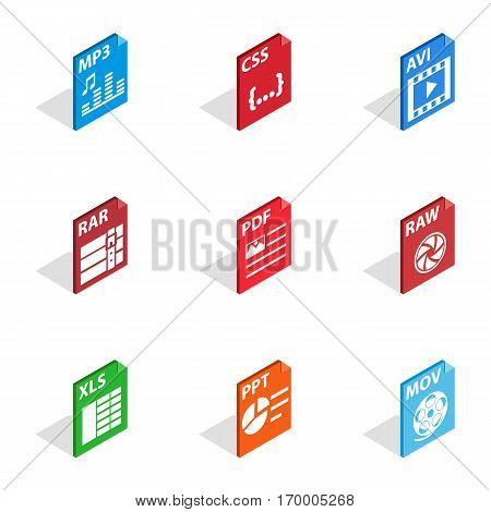 File type icons set. Isometric 3d illustration of 9 file type vector icons for web