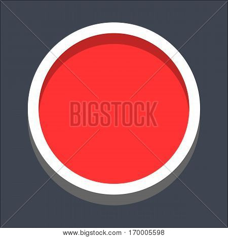 Web internet circle button in 3D flat style. Clicked variant. Quick and easy recolorable shape. Vector illustration a graphic element