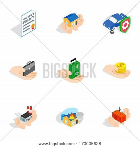 Safeguard icons set. Isometric 3d illustration of 9 safeguard vector icons for web