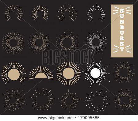 Sunburst. Set of retro Sun burst shapes for vintage design project. Collection of Sun ray frames design elements. Vector illustration.