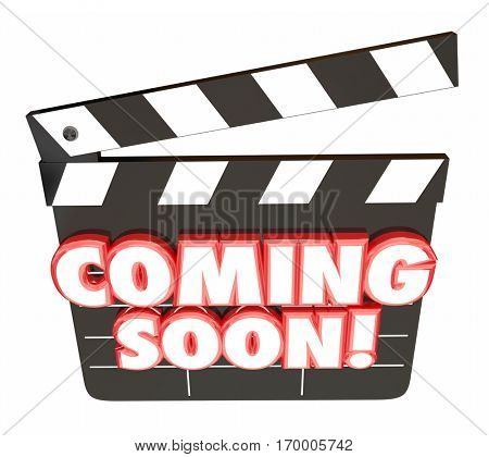 Coming Soon Words Movie Clapper Board Preview 3d Illustration