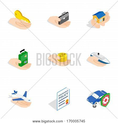 Risk icons set. Isometric 3d illustration of 9 risk vector icons for web