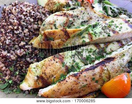 Grilled chicken healthy protein meal
