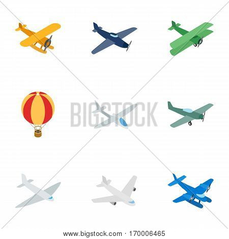 Air transport vehicles icons set. Isometric 3d illustration of 9 air transport vehicles vector icons for web