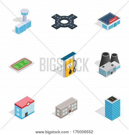 Urban infrastructure icons set. Isometric 3d illustration of 9 urban infrastructure vector icons for web