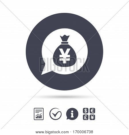 Money bag sign icon. Yen JPY currency speech bubble symbol. Report document, information and check tick icons. Currency exchange. Vector