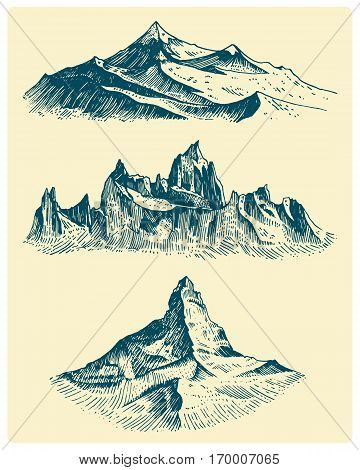 big set of mountains peaks, vintage, old looking hand drawn, sketch or engraved style, different versions for hiking, climbing