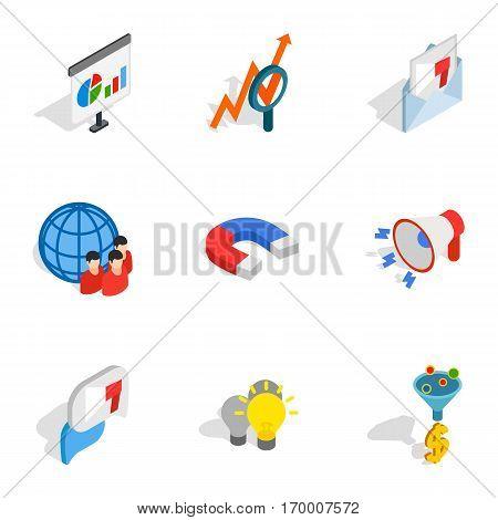 Mobile marketing icons set. Isometric 3d illustration of 9 mobile marketing vector icons for web