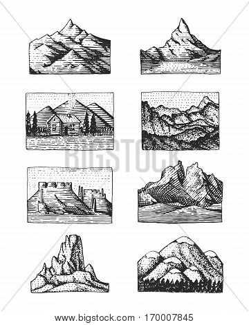 Set of 8 different badges with mountains, engraved, hand drawn or sketch style include logos for camping, hiking. vintage, old looking.