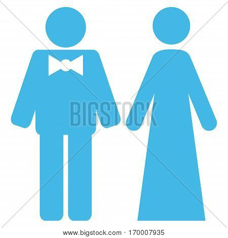 Just Married Persons vector icon symbol. Flat pictogram designed with light blue and isolated on a white background.