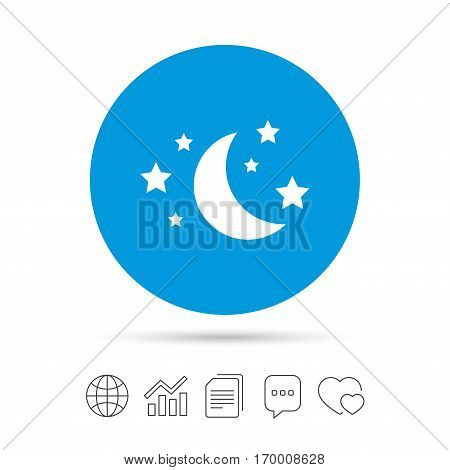 Moon and stars icon. Sleep dreams symbol. Night or bed time sign. Copy files, chat speech bubble and chart web icons. Vector