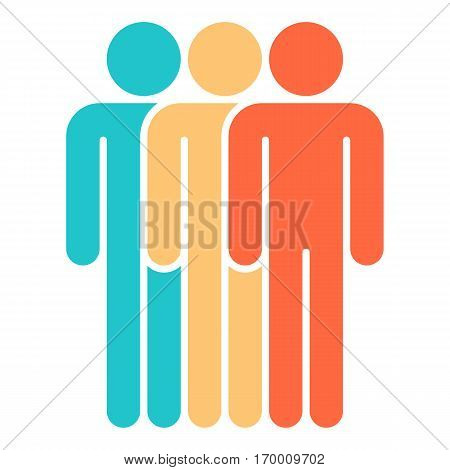 Three men stands with his hands down. Quick and easy recolorable shape. Vector illustration a graphic element