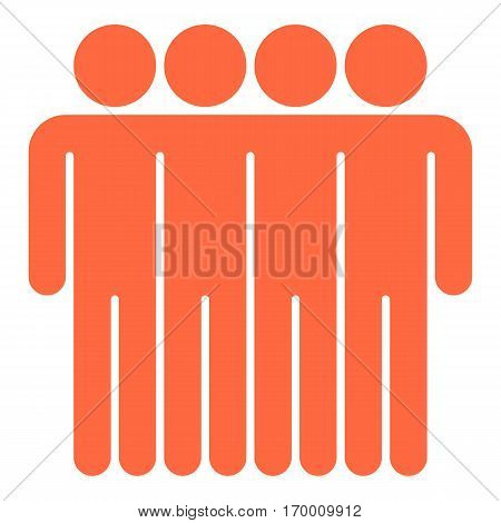 Four men stands with his hands down. Quick and easy recolorable shape. Vector illustration a graphic element