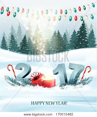 Happy New Year 2017 nature background with garlands and a gift box. Vector.
