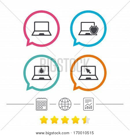 Notebook laptop pc icons. Virus or software bug signs. Shield protection symbol. Mouse cursor pointer. Calendar, internet globe and report linear icons. Star vote ranking. Vector