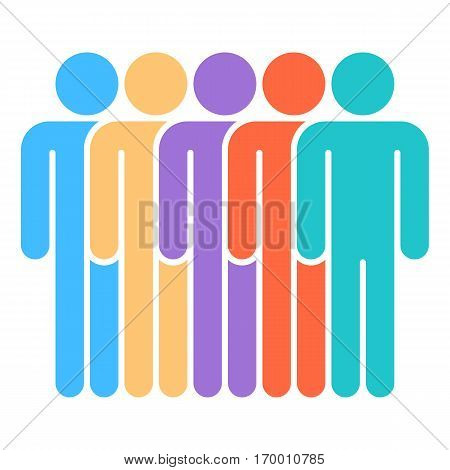 Five men stands with his hands down. Quick and easy recolorable shape. Vector illustration a graphic element