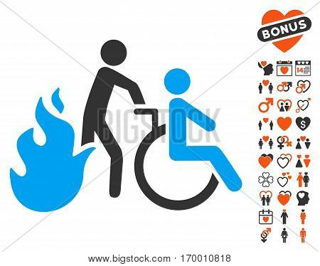 Fire Patient Evacuation pictograph with bonus dating symbols. Vector illustration style is flat iconic elements for web design app user interfaces.