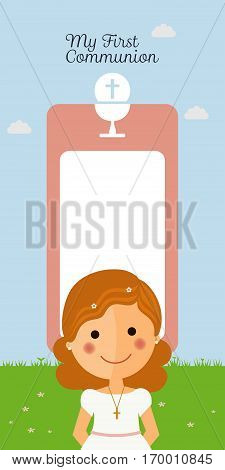Girl communion with mesage and blue sky background