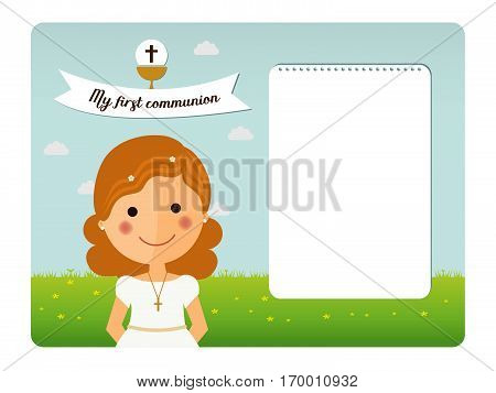 My first communion invitation with foreground girl and notes space