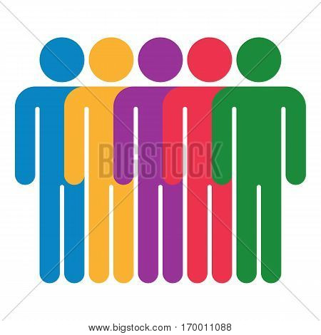Use it in all your designs. Five men stands with his hands down. Quick and easy recolorable shape. Vector illustration a graphic element