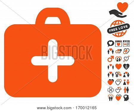 First Aid Case pictograph with bonus valentine images. Vector illustration style is flat iconic symbols for web design app user interfaces.