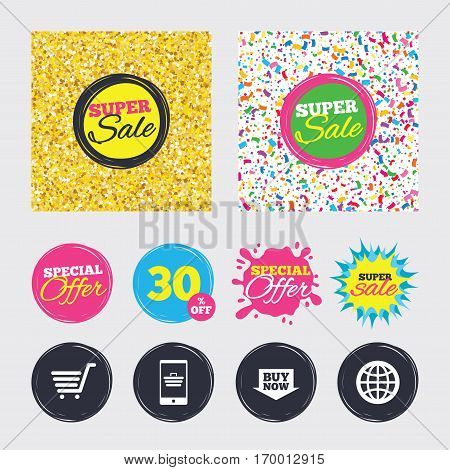 Gold glitter and confetti backgrounds. Covers, posters and flyers design. Online shopping icons. Smartphone, shopping cart, buy now arrow and internet signs. WWW globe symbol. Sale banners. Vector