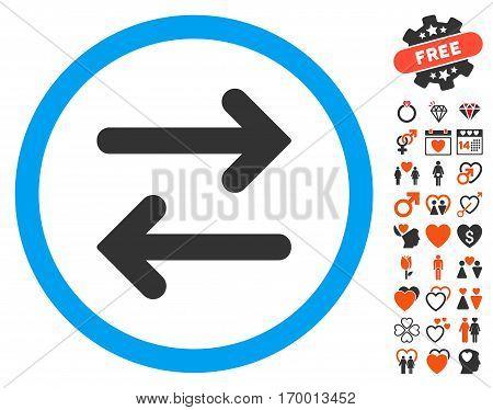 Flip Horizontal icon with bonus dating design elements. Vector illustration style is flat iconic symbols for web design app user interfaces.