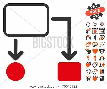 Flowchart Scheme icon with bonus lovely pictograms. Vector illustration style is flat iconic symbols for web design app user interfaces.