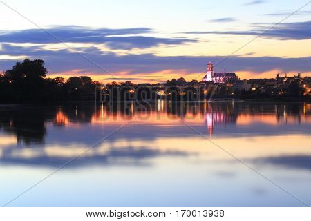 Cathedral and river Loire in the sunset, Nevers, Burgundy, France