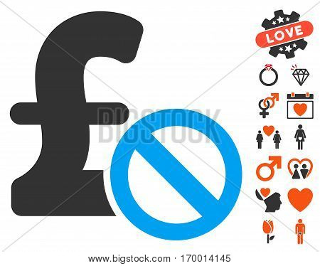 Forbidden Pound Payment pictograph with bonus romantic clip art. Vector illustration style is flat iconic symbols for web design app user interfaces.