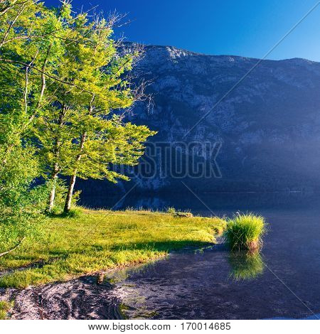 lake between mountains. The trail in the mountains that goes near the water. Mountain Lake between mountains. Europe