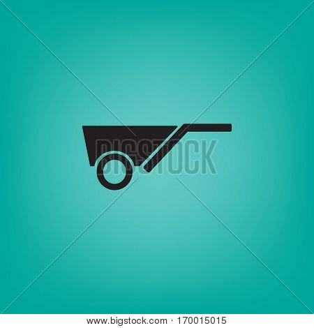 Flat icon. Wheelbarrow.
