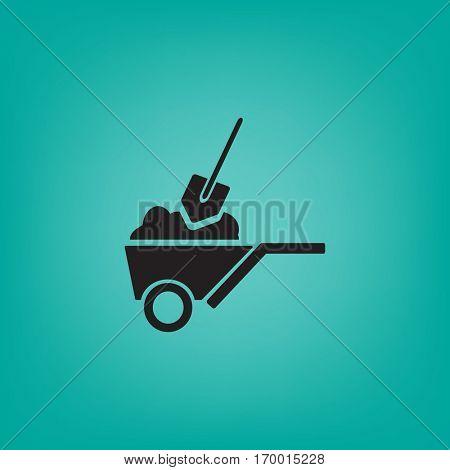 Flat icon. Shovel in a garden wheelbarrow.