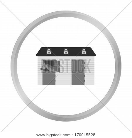 Horse stable icon in monochrome design isolated on white background. Hippodrome and horse symbol stock vector illustration.
